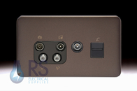 Schneider Lisse Screwless Deco Quadplex BT Secondary & TV Return Outlet Mocha Bronze GGBL70746110BMBS