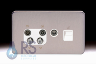 Schneider Lisse Screwless Deco Quadplex BT Secondary & TV Return Outlet Stainless Steel GGBL70746110S