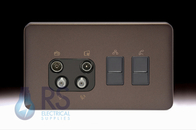 Schneider Lisse Screwless Deco Quadplex RJ45 Cat5 & RJ12 Outlet Mocha Bronze GGBL707445511BMBS