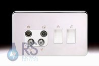 Schneider Lisse Screwless Deco Quadplex RJ45 Cat5 & RJ12 Outlet Polished Chrome GGBL707445511S