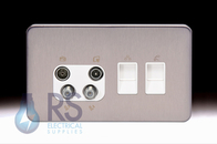 Schneider Lisse Screwless Deco Quadplex RJ45 Cat5 & RJ12 Outlet Stainless Steel GGBL707445511S