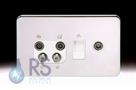 Schneider Lisse Screwless Deco Quadplex RJ45 Cat5 & TV Return Outlet Polished Chrome GGBL707445510S