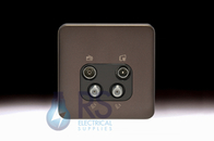 Schneider Lisse Screwless Deco Quadplex TV-R/DAB & 2x SAT Outlet Mocha Bronze GGBL7074BMBS