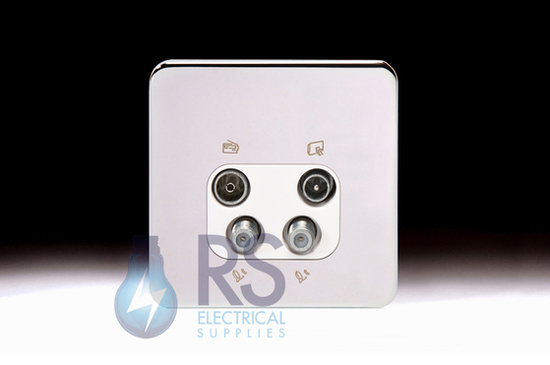 Schneider Lisse Screwless Deco Quadplex TV-R/DAB & 2x SAT Outlet Polished Chrome GGBL7074S