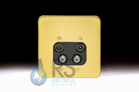 Schneider Lisse Screwless Deco Quadplex TV-R/DAB & 2x SAT Outlet Satin Brass GGBL7074BSBS