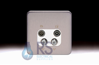 Schneider Lisse Screwless Deco Quadplex TV-R/DAB & 2x SAT Outlet Stainless Steel GGBL7074S
