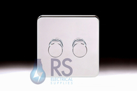 Schneider Lisse Screwless Deco Rotary Dimmer 2G 1W 250W/VA Polished Chrome GGBL6022CPCS