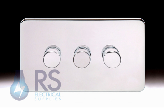 Schneider Lisse Screwless Deco Rotary Dimmer 3G 2W 250W/VA Polished Chrome GGBL6032CPCS