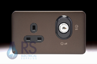 Schneider Lisse Screwless Deco Single Lockable Socket DP Mocha Bronze GGBL3060LBMB