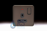 Schneider Lisse Screwless Deco Single Switched Socket DP with LED Indicator Mocha Bronze GGBL3011DBMB