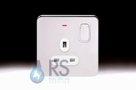 Schneider Lisse Screwless Deco Single Switched Socket DP with LED Indicator Polished Chrome GGBL3011D