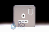 Schneider Lisse Screwless Deco Single Switched Socket DP with LED Indicator Stainless Steel GGBL3011D