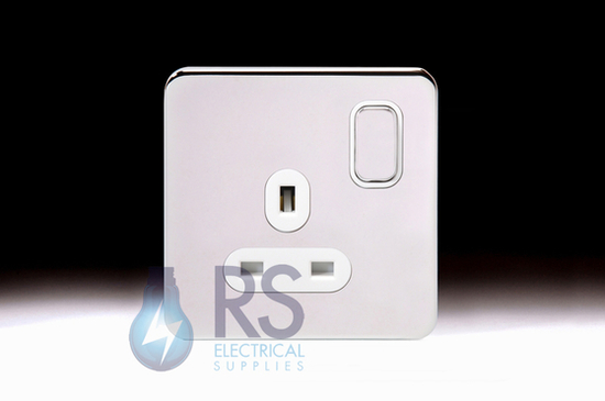 Schneider Lisse Screwless Deco Single Switched Socket Polished Chrome GGBL3010
