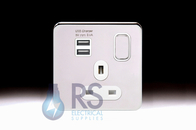 Schneider Lisse Screwless Deco Single Switched USB Socket Polished Chrome GGBL30102USBA