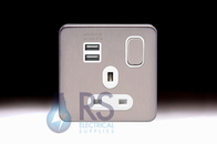 Schneider Lisse Screwless Deco Single Switched USB Socket Stainless Steel GGBL30102USBA