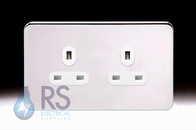 Schneider Lisse Screwless Deco Single Unswitched Socket Polished Chrome GGBL3060S