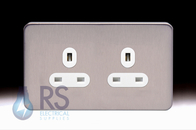 Schneider Lisse Screwless Deco Single Unswitched Socket Stainless Steel GGBL3060S
