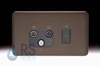 Schneider Lisse Screwless Deco Triplex TV-R/DAB & RJ45 Cat6 UTP Outlet Mocha Bronze GGBL7081456BMBS