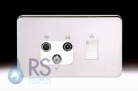 Schneider Lisse Screwless Deco Triplex TV-R/DAB & RJ45 Cat6 UTP Outlet Polished Chrome GGBL7081456S