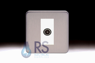 Schneider Lisse Screwless Deco TV-R Co-Axial Outlet Stainless Steel GGBL7010MWSS