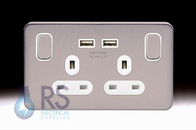 Schneider Lisse Screwless Deco USB Double Socket Stainless Steel GGBL30202USBASS