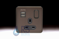 Schneider Lisse Screwless Deco USB Single Switched Socket Mocha Bronze GGBL30102USBABMBS