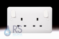 Schneider Lisse White 13A Double Switched Socket Outboard Rockers GGBL3030