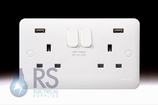 Schneider Lisse White 13A Double Switched USB Socket GGBL30202USBAS