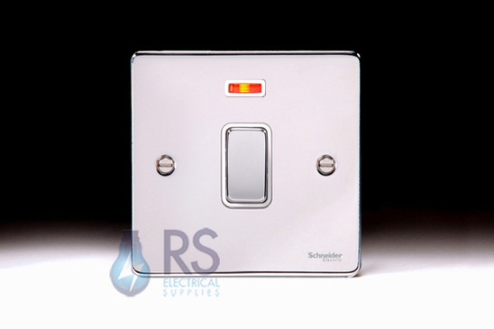 Schneider Low Profile 20A DP Switch Neon Polished Chrome GU2511WPC