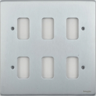 Schneider Low Profile 6 Gang Grid Plate Brushed Chrome GUGL06BC