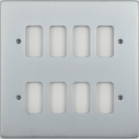 Schneider Low Profile 8 Gang Grid Plate Brushed Chrome GUGL08BC
