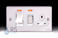 Schneider Low Profile Cooker Switch & Socket Polished Chrome GU4501WPC