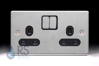 Schneider Low Profile Double Socket Brushed Chrome GU3520BBC