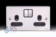 Schneider Low Profile Double Socket Polished Chrome GU3520BPC