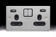 Schneider Low Profile Double Socket USB Brushed Chrome GGBGU3524DBBC