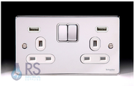 Schneider Low Profile Double Socket USB Polished Chrome GGBGU35202USBWPC