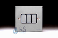 Schneider Low Profile Light Switch Brushed Chrome GU1532BBC