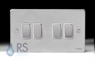 Schneider Low Profile Light Switch Brushed Chrome GU1542WBC