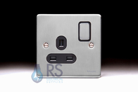 Schneider Low Profile Single Socket Brushed Chrome GU3510BBC