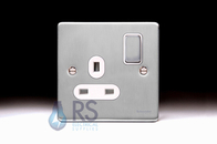 Schneider Low Profile Single Socket Brushed Chrome GU3510WBC