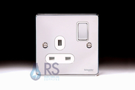 Schneider Low Profile Single Socket Polished Chrome GU3510WPC