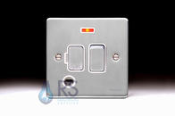 Schneider Low Profile Switched Spur Neon & Flex Outlet Brushed Chrome GU5514WBC