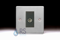 Schneider Low Profile TV Socket Brushed Chrome GU7510MBBC