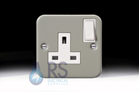 Schneider Exclusive Metal Clad 13A Switched Single Socket GMC131SS