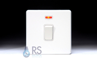 Schneider Screwless Flat Plate 20 Amp DP Switch Neon Gloss White GU2411WWH