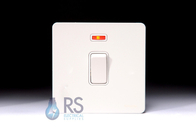 Schneider Screwless Flat Plate 20A DP Switch Neon White Metal GU2411WPW