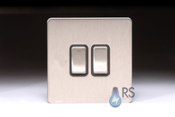 Schneider Screwless Flat Plate 2Way & Intermediate Light Switch Stainless Steel GU141214BSS
