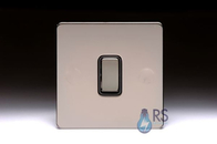 Schneider Screwless Flat Plate Black Nickel Light Switch 1G 2W Black Inserts GU1412BBN
