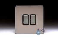 Schneider Screwless Flat Plate Black Nickel Light Switch 2G Black Inserts GU1422BBN