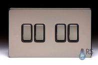 Schneider Screwless Flat Plate Black Nickel Light Switch 4g Black Inserts GU1442BBN